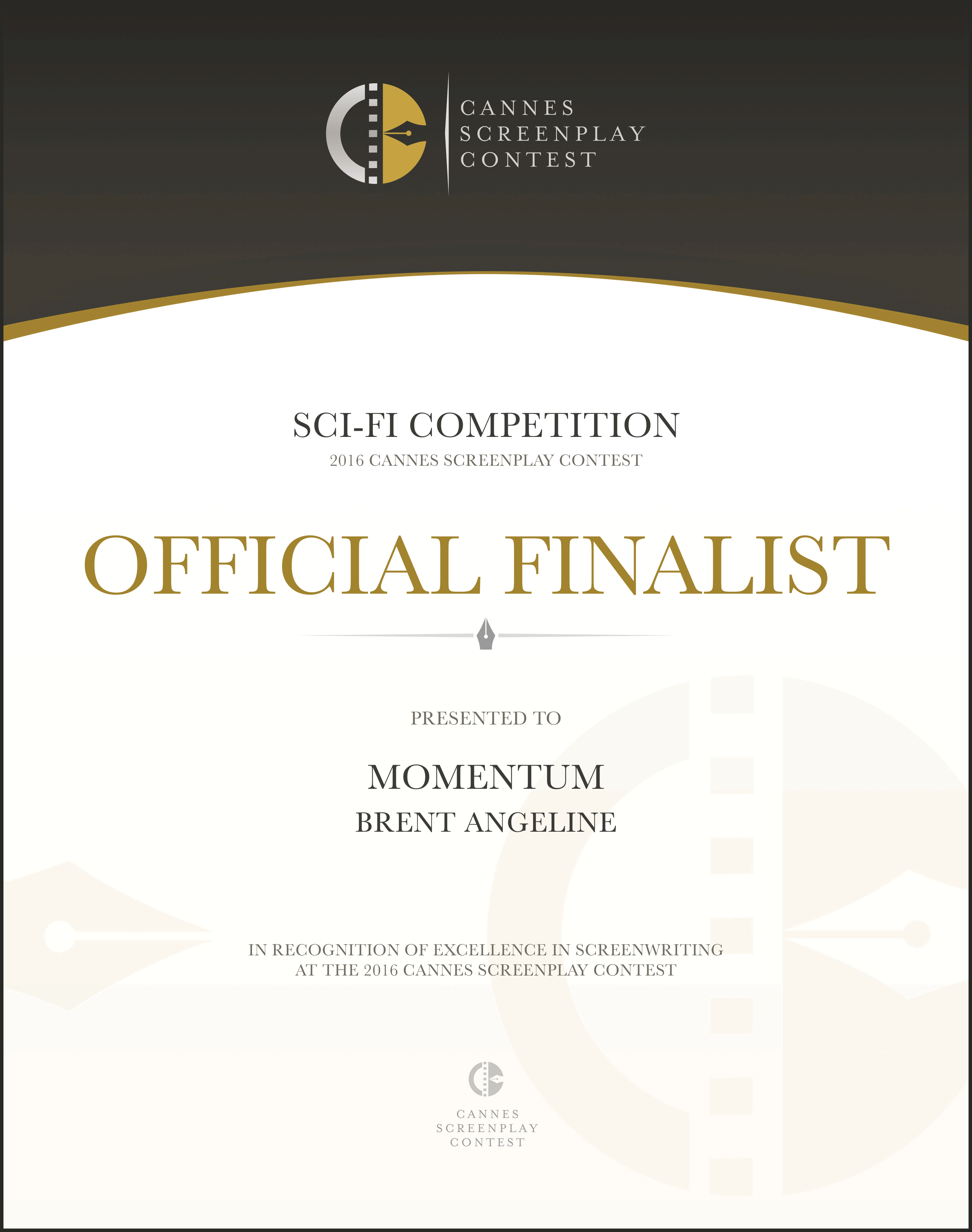 Brent Angeline - FINALIST Cannes Screenplay Contest 2016